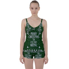 Ugly Christmas Sweater Tie Front Two Piece Tankini