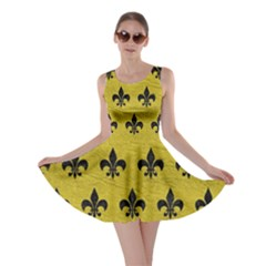 Royal1 Black Marble & Yellow Leather (r) Skater Dress