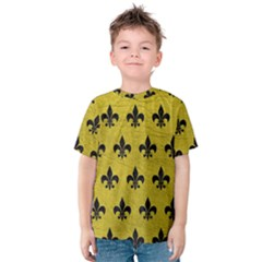 Royal1 Black Marble & Yellow Leather (r) Kids  Cotton Tee