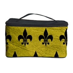 Royal1 Black Marble & Yellow Leather (r) Cosmetic Storage Case