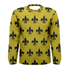 Royal1 Black Marble & Yellow Leather (r) Men s Long Sleeve Tee
