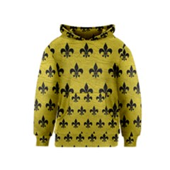 Royal1 Black Marble & Yellow Leather (r) Kids  Pullover Hoodie