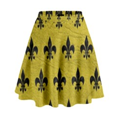 Royal1 Black Marble & Yellow Leather (r) High Waist Skirt