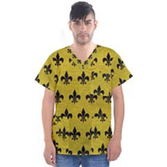 Royal1 Black Marble & Yellow Leather (r) Men s V Neck Scrub Top