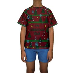Ugly Christmas Sweater Kids  Short Sleeve Swimwear
