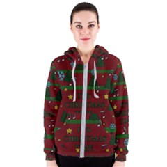 Ugly Christmas Sweater Women s Zipper Hoodie