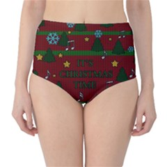 Ugly Christmas Sweater High Waist Bikini Bottoms