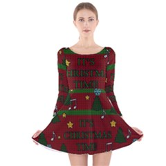 Ugly Christmas Sweater Long Sleeve Velvet Skater Dress