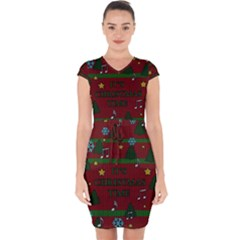 Ugly Christmas Sweater Capsleeve Drawstring Dress