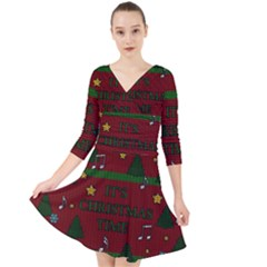 Ugly Christmas Sweater Quarter Sleeve Front Wrap Dress