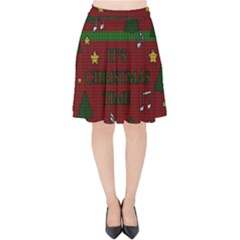 Ugly Christmas Sweater Velvet High Waist Skirt