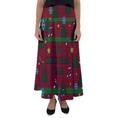 Ugly Christmas Sweater Flared Maxi Skirt