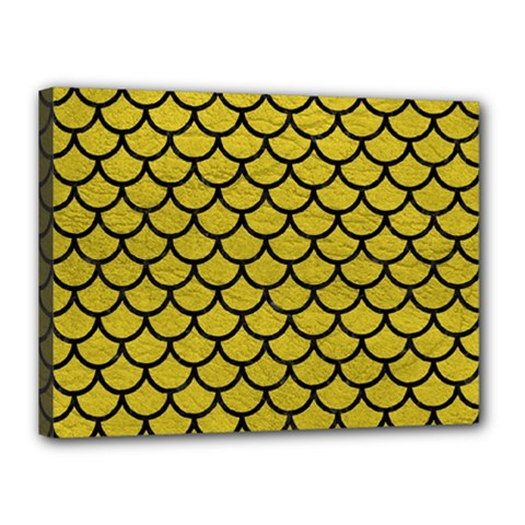 Scales1 Black Marble & Yellow Leather Canvas 16  X 12