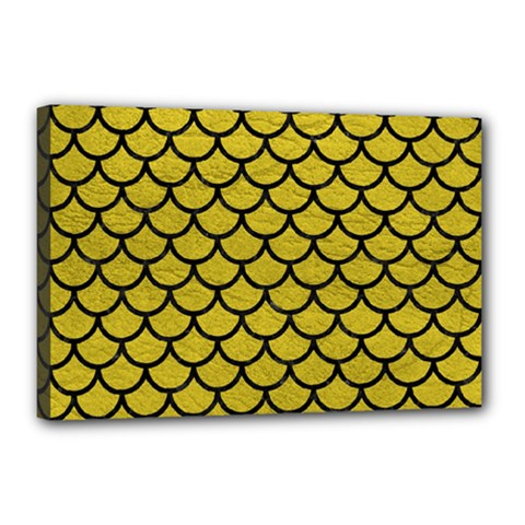 Scales1 Black Marble & Yellow Leather Canvas 18  X 12