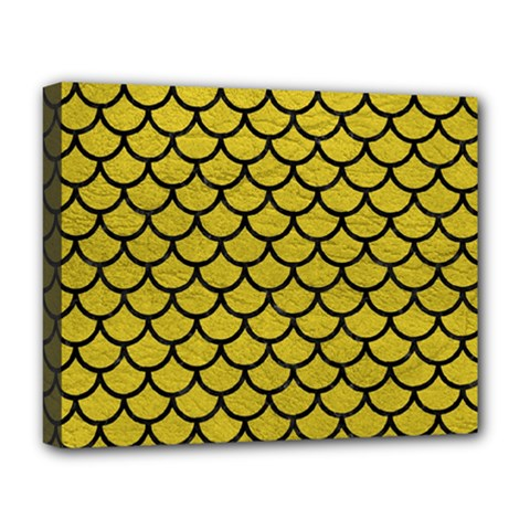 Scales1 Black Marble & Yellow Leather Deluxe Canvas 20  X 16