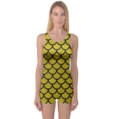 Scales1 Black Marble & Yellow Leather One Piece Boyleg Swimsuit