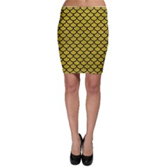 Scales1 Black Marble & Yellow Leather Bodycon Skirt