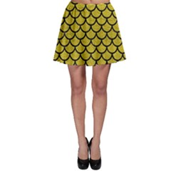 Scales1 Black Marble & Yellow Leather Skater Skirt