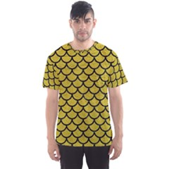 Scales1 Black Marble & Yellow Leather Men s Sports Mesh Tee