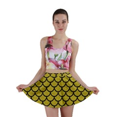 Scales1 Black Marble & Yellow Leather Mini Skirt