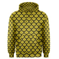 Scales1 Black Marble & Yellow Leather Men s Pullover Hoodie