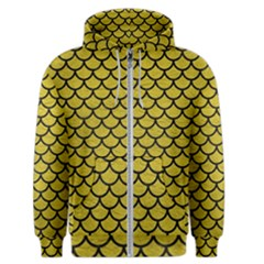 Scales1 Black Marble & Yellow Leather Men s Zipper Hoodie