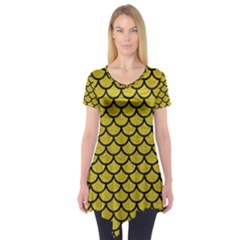 Scales1 Black Marble & Yellow Leather Short Sleeve Tunic
