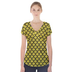 Scales1 Black Marble & Yellow Leather Short Sleeve Front Detail Top