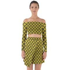 Scales1 Black Marble & Yellow Leather Off Shoulder Top With Skirt Set