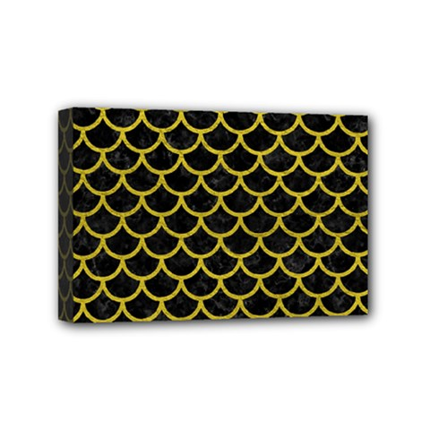 Scales1 Black Marble & Yellow Leather (r) Mini Canvas 6  X 4