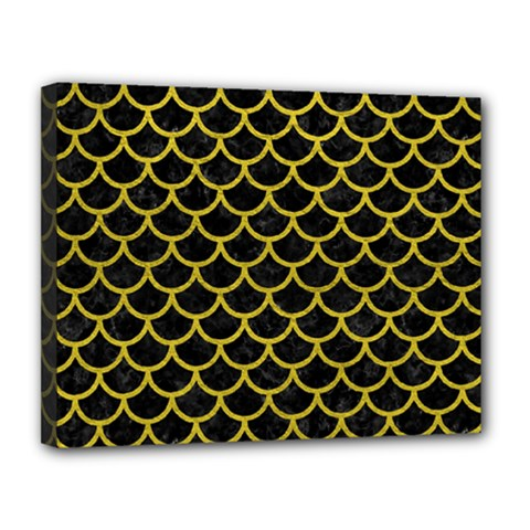 Scales1 Black Marble & Yellow Leather (r) Canvas 14  X 11