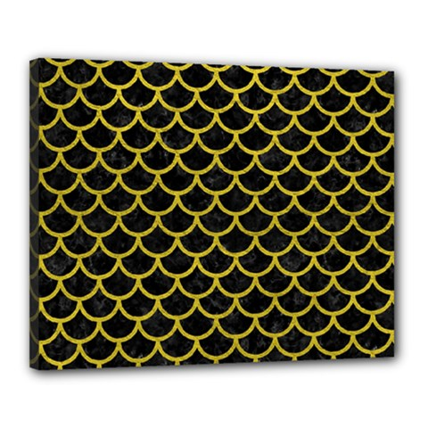 Scales1 Black Marble & Yellow Leather (r) Canvas 20  X 16