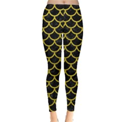 Scales1 Black Marble & Yellow Leather (r) Leggings