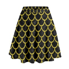 Scales1 Black Marble & Yellow Leather (r) High Waist Skirt