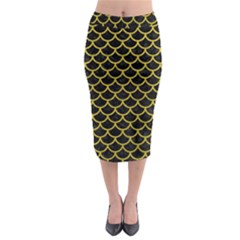 Scales1 Black Marble & Yellow Leather (r) Midi Pencil Skirt