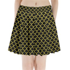 Scales1 Black Marble & Yellow Leather (r) Pleated Mini Skirt