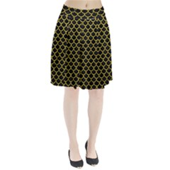 Scales1 Black Marble & Yellow Leather (r) Pleated Skirt