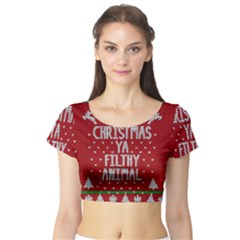 Ugly Christmas Sweater Short Sleeve Crop Top