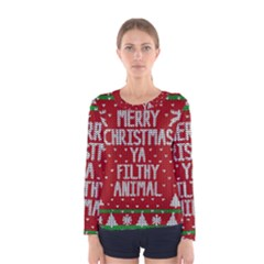 Ugly Christmas Sweater Women s Long Sleeve Tee