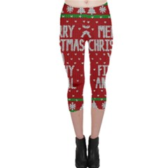 Ugly Christmas Sweater Capri Leggings