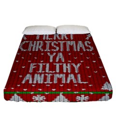 Ugly Christmas Sweater Fitted Sheet (queen Size)