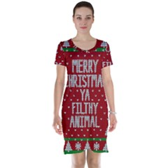Ugly Christmas Sweater Short Sleeve Nightdress
