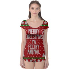Ugly Christmas Sweater Boyleg Leotard