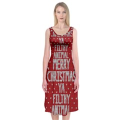 Ugly Christmas Sweater Midi Sleeveless Dress