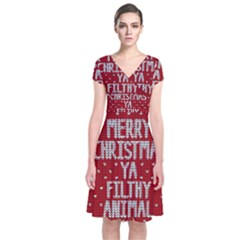 Ugly Christmas Sweater Short Sleeve Front Wrap Dress
