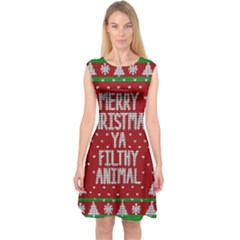 Ugly Christmas Sweater Capsleeve Midi Dress