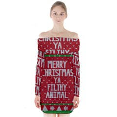 Ugly Christmas Sweater Long Sleeve Off Shoulder Dress