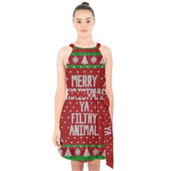 Ugly Christmas Sweater Halter Collar Waist Tie Chiffon Dress