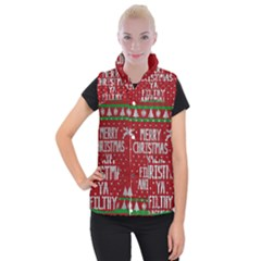 Ugly Christmas Sweater Women s Button Up Puffer Vest