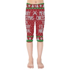 Ugly Christmas Sweater Kids  Capri Leggings